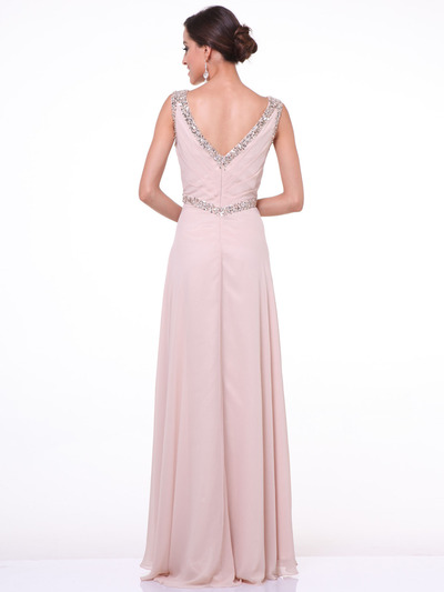 C958 Encrusted V Neck Evening Dress - Champagne, Back View Medium