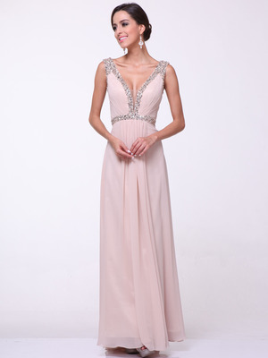 C958 Encrusted V Neck Evening Dress, Champagne