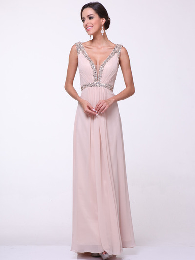 C958 Encrusted V Neck Evening Dress - Champagne, Front View Medium