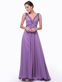 C958 Encrusted V Neck Evening Dress - Marble, Front View Thumbnail
