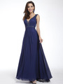 C958 Encrusted V Neck Evening Dress - Navy, Front View Thumbnail