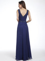 C958 Encrusted V Neck Evening Dress - Navy, Back View Thumbnail