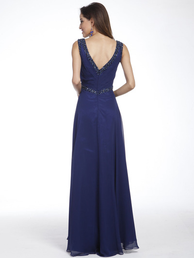 C958 Encrusted V Neck Evening Dress - Navy, Back View Medium