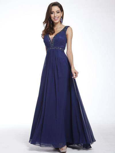 C958 Encrusted V Neck Evening Dress - Navy, Front View Medium
