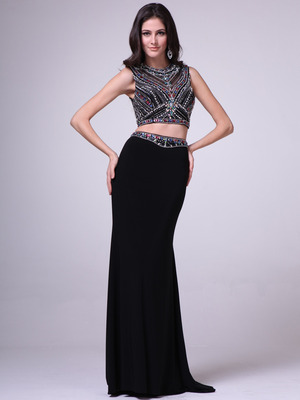 C962 Jeweled Two Pieces Prom Gown, Black