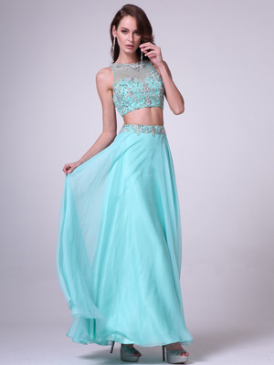 C963 Embroidery Sequin Two Pieces Prom Dress, Mint