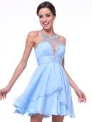 C969 Sparkling Halter Neck Short Prom Dress, Aqua