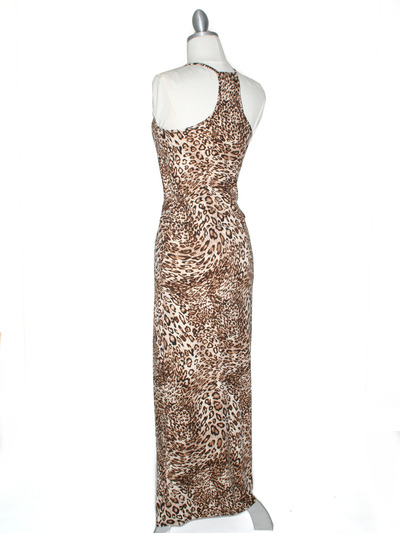 CA1551 Leopard Print Tank Jersey Maxi Dress - Leopard, Back View Medium