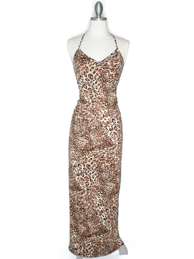 CA1551 Leopard Print Tank Jersey Maxi Dress - Leopard, Front View Medium