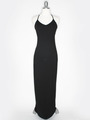 CA1704 Solid Print Tank Jersey Maxi Dress - Black, Front View Thumbnail