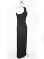 CA1704 Solid Print Tank Jersey Maxi Dress - Black, Back View Thumbnail