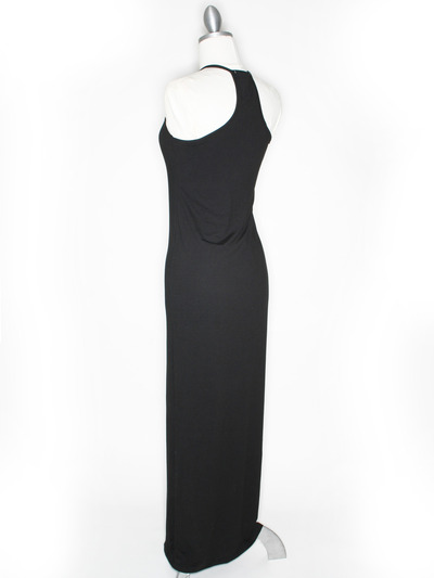 CA1704 Solid Print Tank Jersey Maxi Dress - Black, Back View Medium