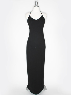CA1704 Solid Print Tank Jersey Maxi Dress, Black