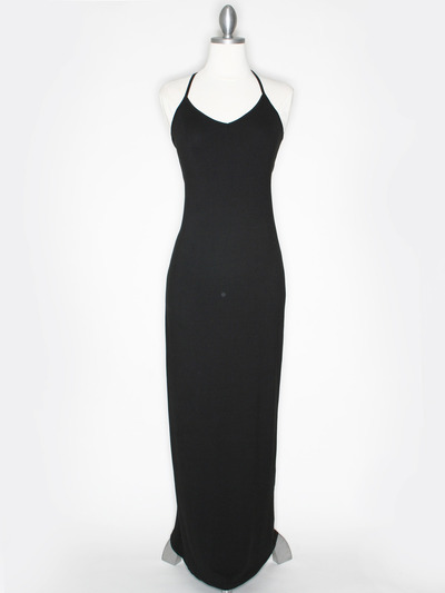CA1704 Solid Print Tank Jersey Maxi Dress - Black, Front View Medium