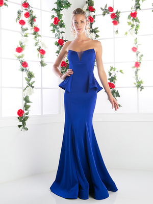 CD-10695 Trumpet Evening Dress with Sweetheart Neckline, Royal