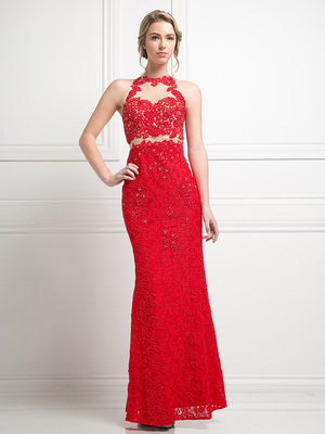 CD-1586 Mock Two Piece Lace Prom Evening Dress, Red