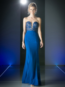 CD-1587 Strapless Sweetheart Long Evening Dress, Royal