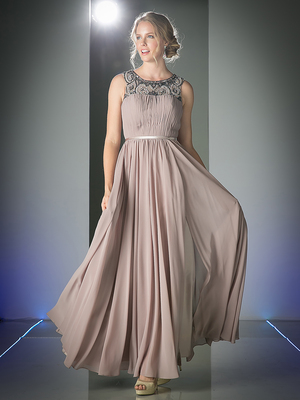CD-1588 Beaded Boat Neck Long Evening Dress, Khaki