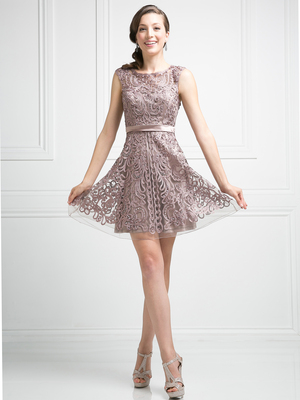 CD-1730 Sleeveless Lace Overlay Cocktail Dress , Mocha