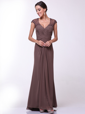 CD-1941 Cap Sleeves Floor Length Evening Dress with Sheer Back, Brown