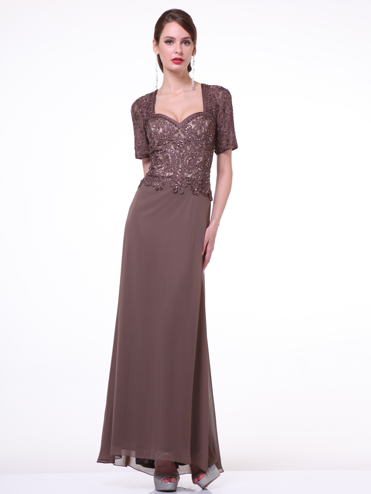 f574ed26e4 CD-1942 Short Sleeves Beaded Chiffon Mother of the Bride Dress - Brown,  Front ...
