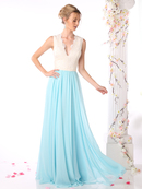 CD-1965 Sleeveless V-Neck Bridesmaid Dress, Ivory Mint