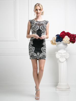 CD-1967 Cap Sleeves Embroidery Cocktail Dress, Black White