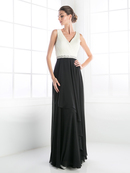 CD-1968 Sleeveless V-Neck Bridesmaid Dress, Ivory Black