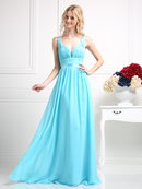 CD-1972 Sleeveless Bridesmaid Dress with Empire Waist, Aqua