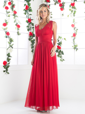 CD-3854 Sleeveless Bridesmaid Long Evening Dress, A Red