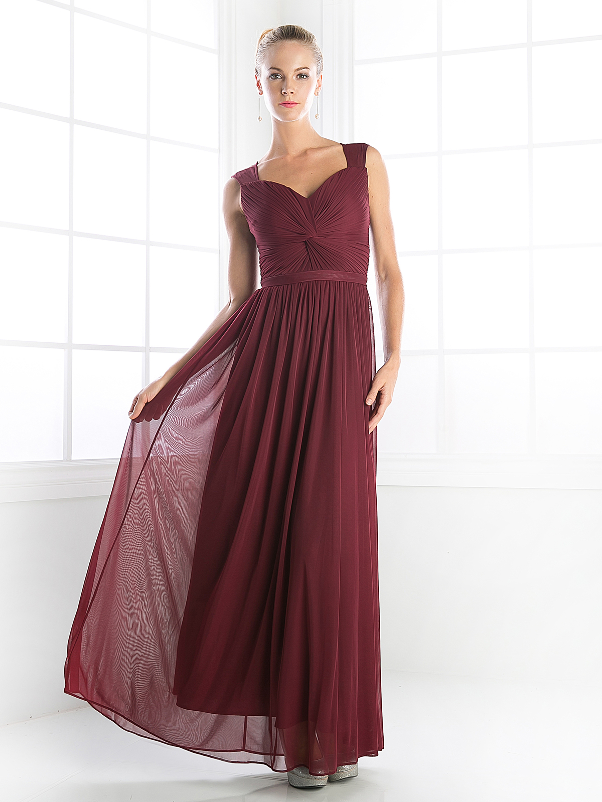 Sleeveless twisted front long bridesmaid dress sung boutique la cd 3858 sleeveless twisted front long bridesmaid dress burgundy front view medium ombrellifo Choice Image