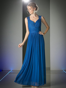 CD-3858 Sleeveless Twisted Front Long Bridesmaid Dress, Royal