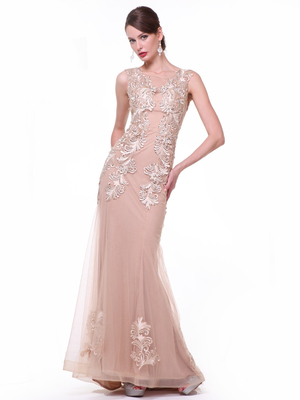 CD-44 Sheer Lace Applique Formal Dress, Champagne