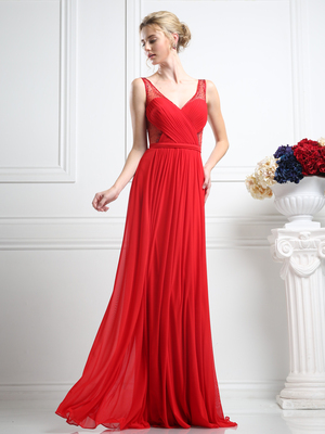 CD-5061 Sheer Beaded Strap Evening Dress , Red