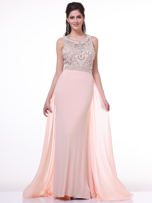 CD-52 Jeweled Bodice Evening Dress with Train, Peach