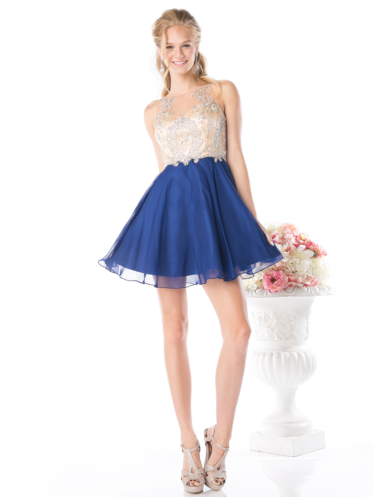 8dbd362ea88 CD-56S Embellished Sheer Bodice Short Prom Dress - Royal