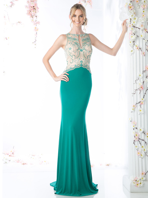 CD-60960 Illusion Beaded Mermaid Evening Dress, Green