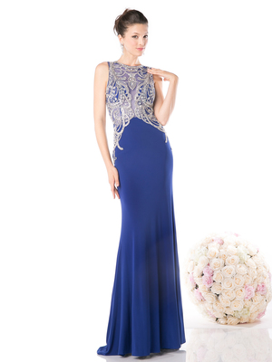 CD-61073 Illusion Sleeveless Evening Dress, Royal