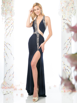 CD-70402 Mock Two Piece Evening Dress with Beaded Trim, Navy