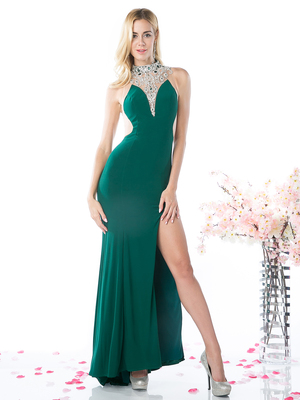CD-70429 Illusion High Neck Evening Dress with Sheer Back, Green