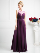CD-7458 Illusion Sweetheart Evening Dress, Eggplant