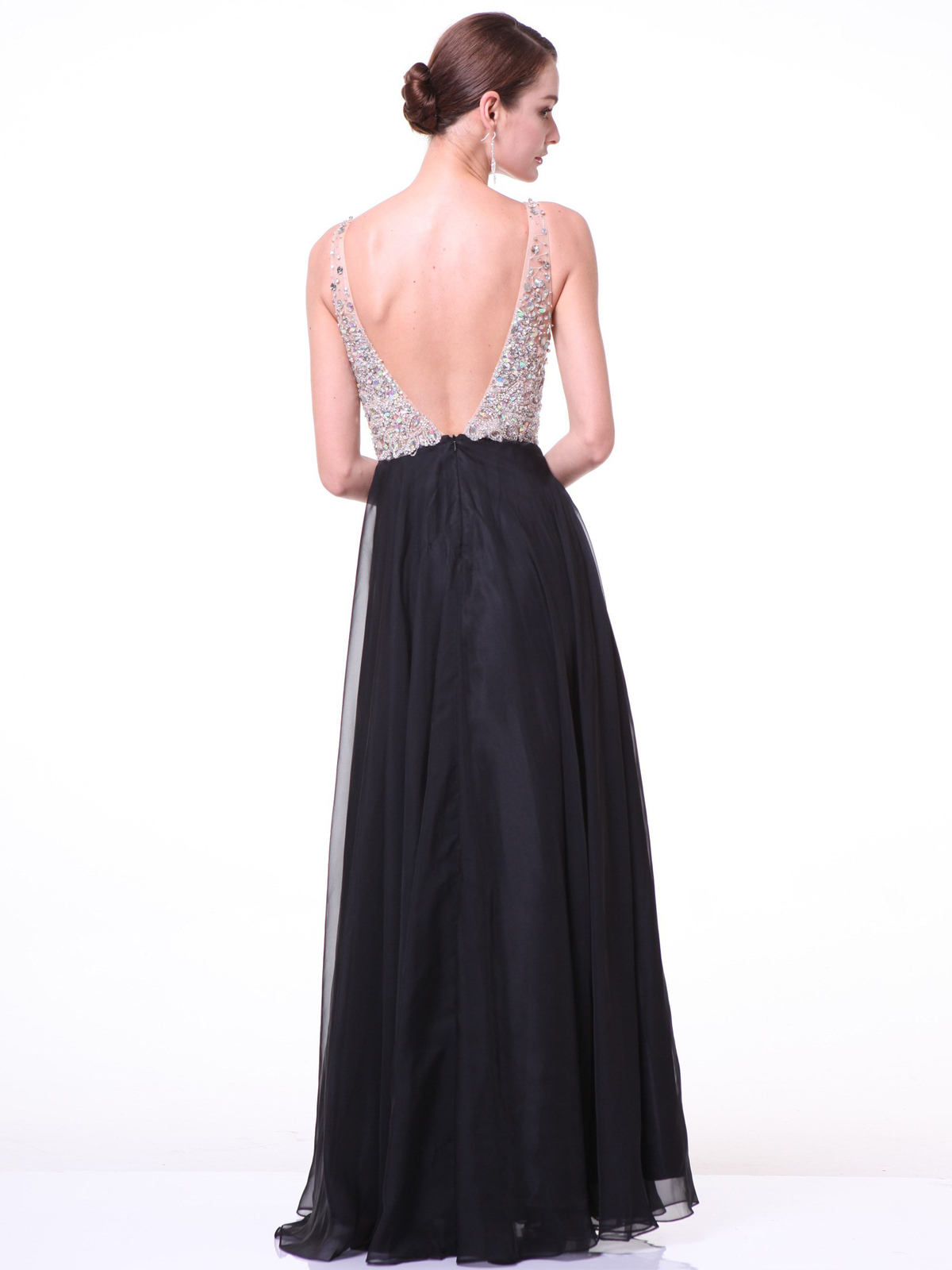 Embellished V Neck Chiffon Evening Gowns Sung Boutique L A