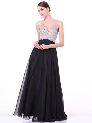 CD-7910 Embellished V-Neck Chiffon Evening Gown , Black