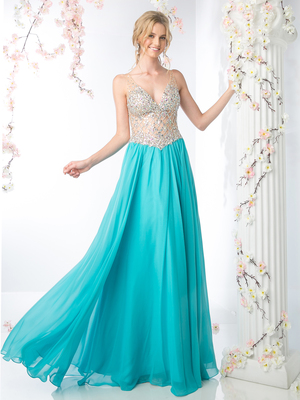 CD-81329 Illusion Bodice V-Neck Prom Dress, Aqua