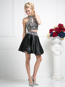 CD-82072 Two Piece Halter Top Homecoming Dress , Black