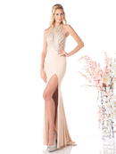 CD-82409 High Neck Sheer Prom Evening Dress, Nude