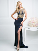 CD-82513 Sleeveless Embellished Cutout Back Evening Dress , Navy