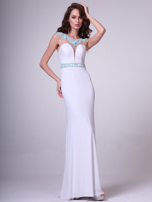 CD-8746 Sleeveless Illusion  Embellished Evening Dress, White