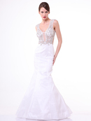 CD-8788 Trumpet Gown with Sparkle Detailing, Off White