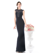 CD-8908 Sleeveless Beaded Top Evening Dress , Navy